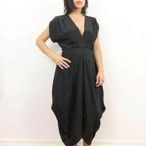 Myne Black Silk Tulip Hem Dress